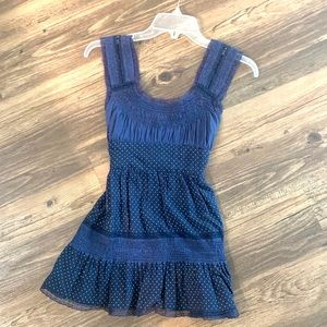 Free People navy polka dot lace sleeveless blouse